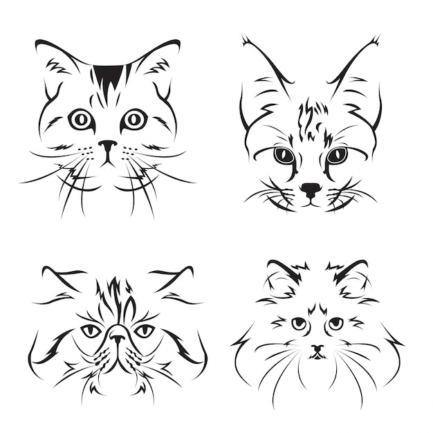 Cute cat face illustration set Vettore gratuito