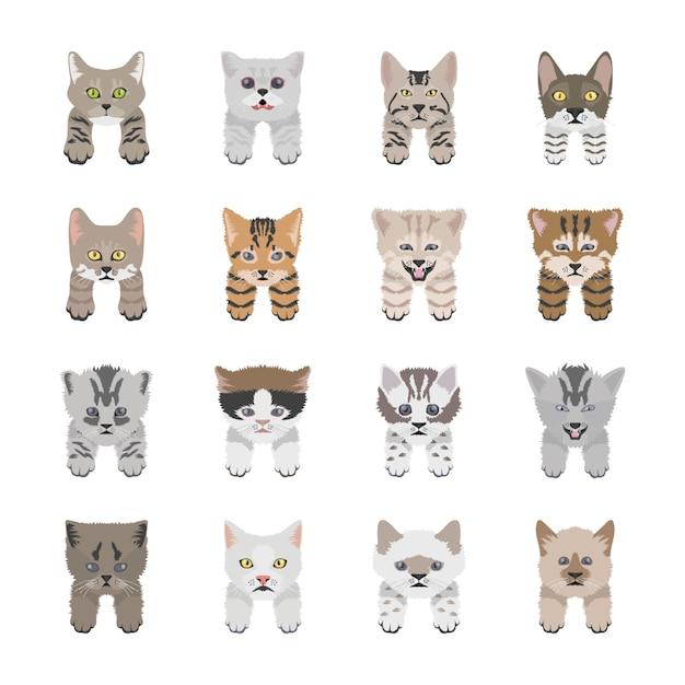 Cute cat faces flat icons Premium Vector