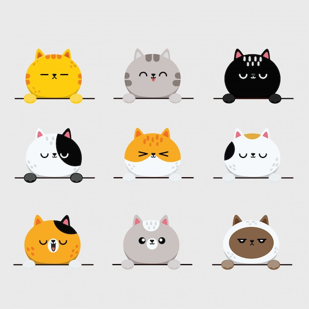 Premium Vector Cute Cat Faces Kitten Or Kitty Animal Emoticons Stickers