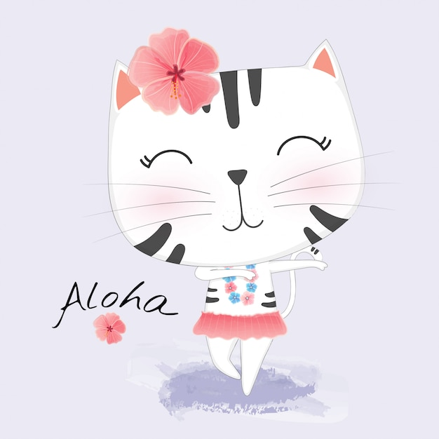 Cute cat in hawaiian clothes dances hula. Premium Vector