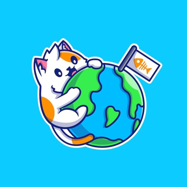 귀여운 고양이 포옹 세계 만화 벡터 일러스트 레이 션. 동물 자연 개념 격리 된 벡터입니다. 플랫 만화 스타일 무료 벡터