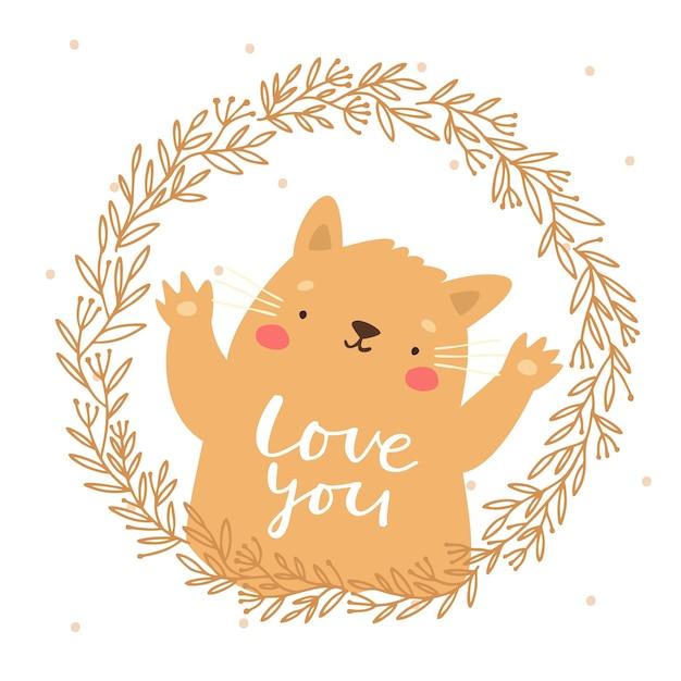花輪のかわいい猫はあなたを愛して 無料ベクター