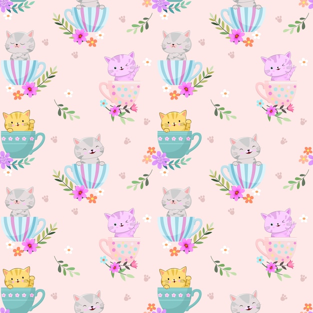 コーヒーカップの朝のかわいい猫はシームレスパターンを回します。 Premiumベクター