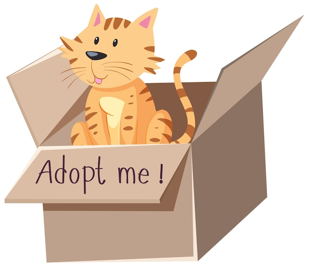 Free Vector Cute Cat Or Kitten In The Box With Adopt Me Text On The Box Cartoon Isolated