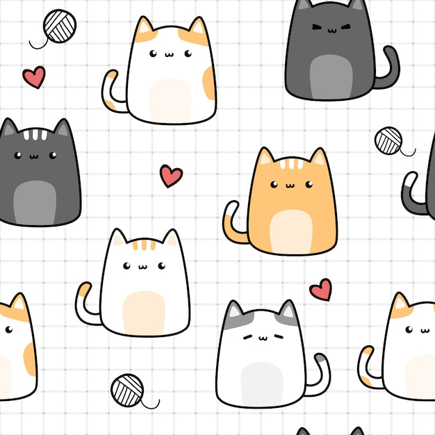 Cute cat kitten cartoon doodle seamless pattern on grid Premium Vector