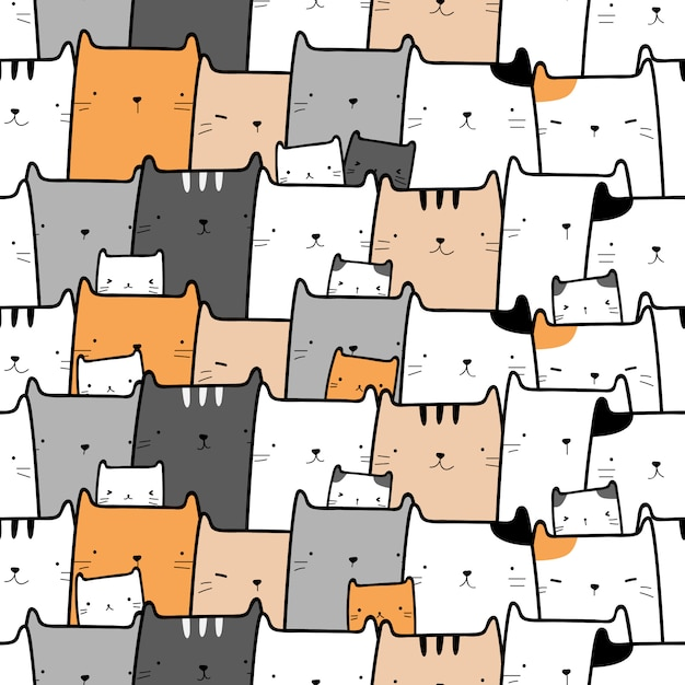 Cute cat kitten cartoon doodle seamless pattern Premium Vector
