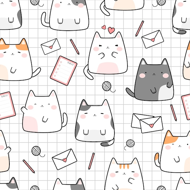 Cute cat kitten on grid cartoon doodle seamless pattern Premium Vector