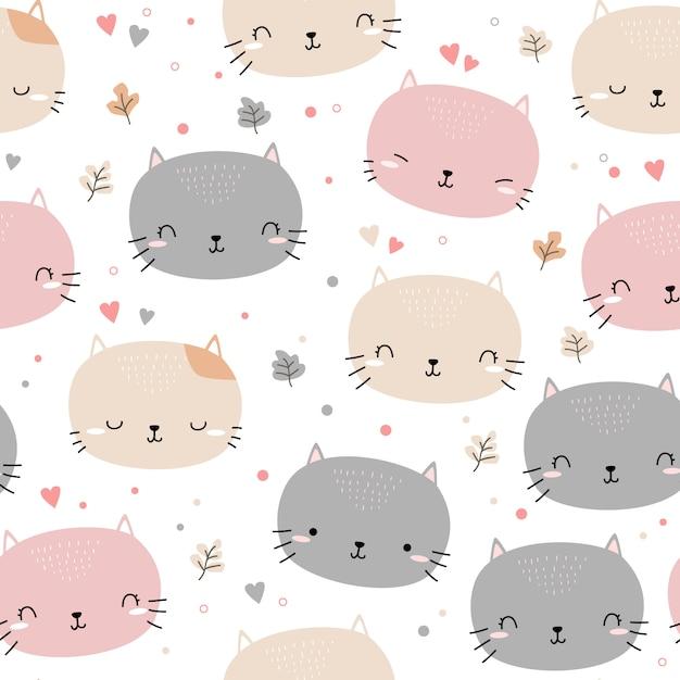 かわいい猫の子猫の頭漫画落書きシームレスパターン Premiumベクター
