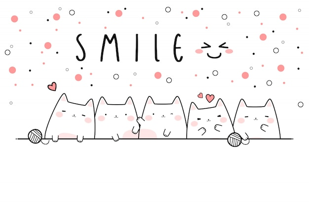 Cute Cat Kitten Smile Cartoon Doodle Banner Wallpaper Vector