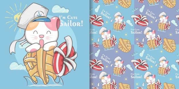 かわいい猫小さな船乗りのシームレスなパターンとイラストカード Premiumベクター