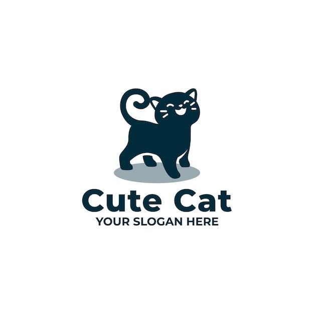 かわいい猫のロゴのマスコット Premiumベクター