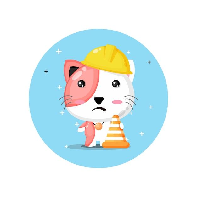 건설에서 작동하는 귀여운 고양이 마스코트 프리미엄 벡터