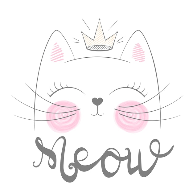 Cute cat meow illustration. funny princess and crown for print t-shirt. hand drawn style. Premium Vector