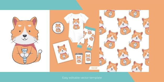 Simpatico gatto per merchandising e seamless Vettore gratuito