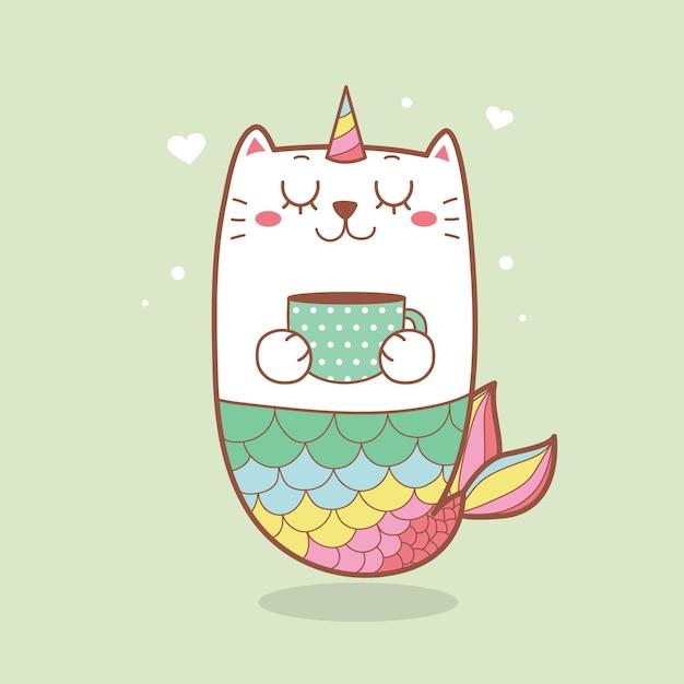 Милая кошка русалка держит чашку кофе пастельных тонов. Premium векторы