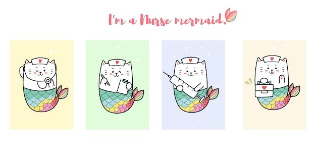Милая кошка русалка в платье медсестры Premium векторы