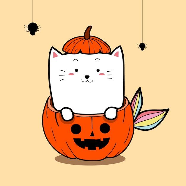 かわいい猫の人魚ハロウィーンの日のためのカボチャのコスチューム Premiumベクター