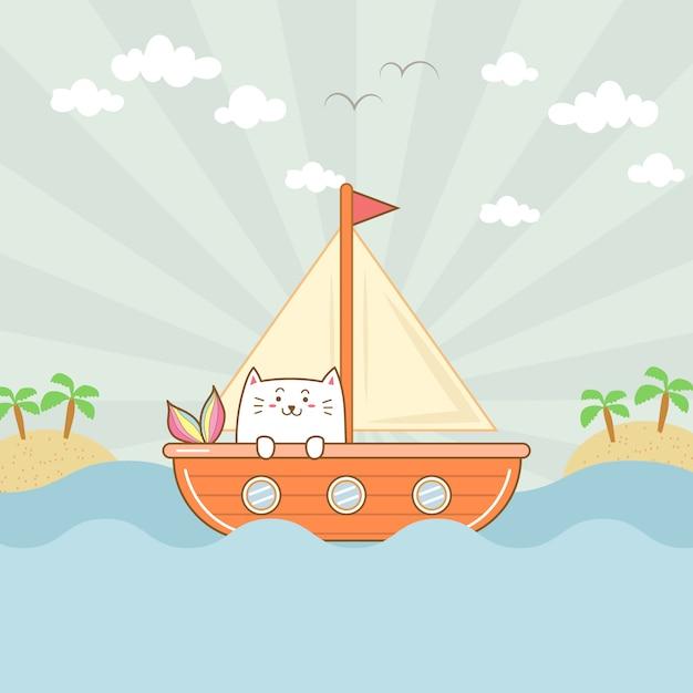 Милая кошка русалка на лодке Premium векторы