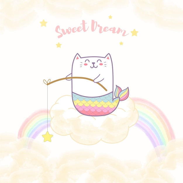 Cute cat mermaid sitting on the cloud holding a star with rainbow Premium Vector