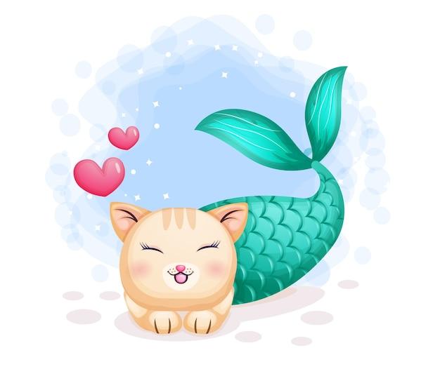 Premium Vector Cute Cat Mermaid With Two Love Cartoon Character