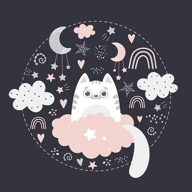 雲の上のかわいい猫 Premiumベクター
