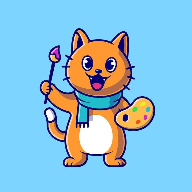 Pittore sveglio del gatto che tiene l'illustrazione dell'icona di vettore del fumetto della tavolozza e della spazzola di colore. animale arte icona concetto vettore isolato. stile cartone animato piatto Vettore gratuito