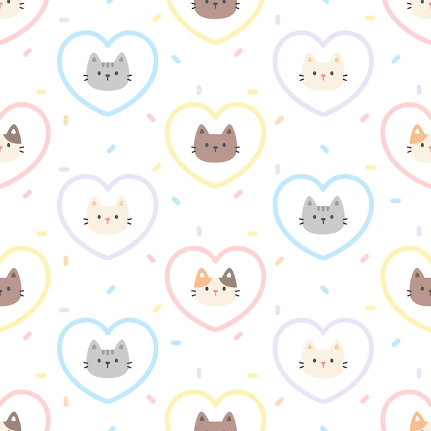 かわいい猫パステルハートのシームレスパターン Premiumベクター