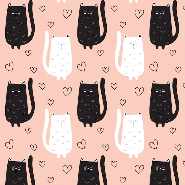 Cute cat pattern hand drawn with heart Premium Vector