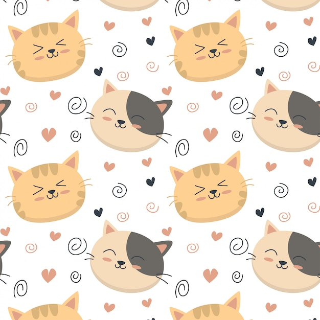 Cute cat pattern heart Premium Vector