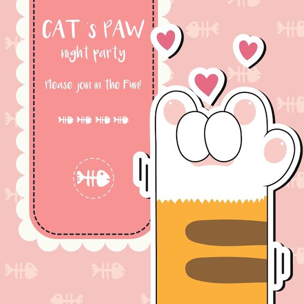 Cute cat paws wallpaper vector illustration Premium Vector