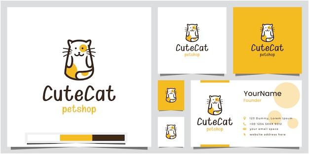 Cute cat pet shop logo design with business card Premium Vector