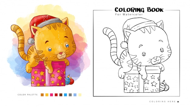 Cute cat play above the christmas gift wear santa's hat for watercolor coloring book Premium Vector