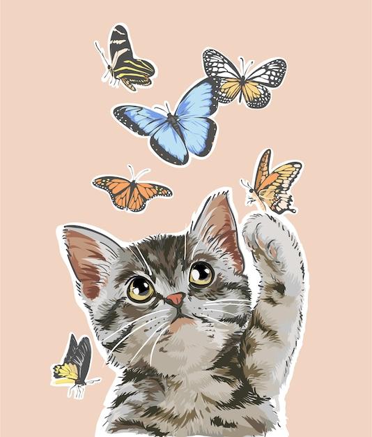 Милый кот играет с бабочками иллюстрации Premium векторы