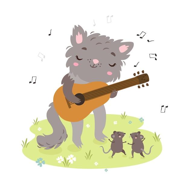 귀여운 고양이 기타를 연주합니다. 쥐 춤 무료 벡터