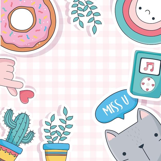 카드 스티커 또는 패치 장식 만화 귀여운 고양이 화분 선인장 도넛 음악 물건 프리미엄 벡터