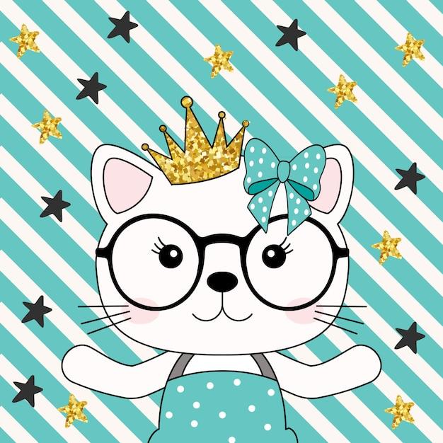 Cute cat princess girl with crown Premium Vector