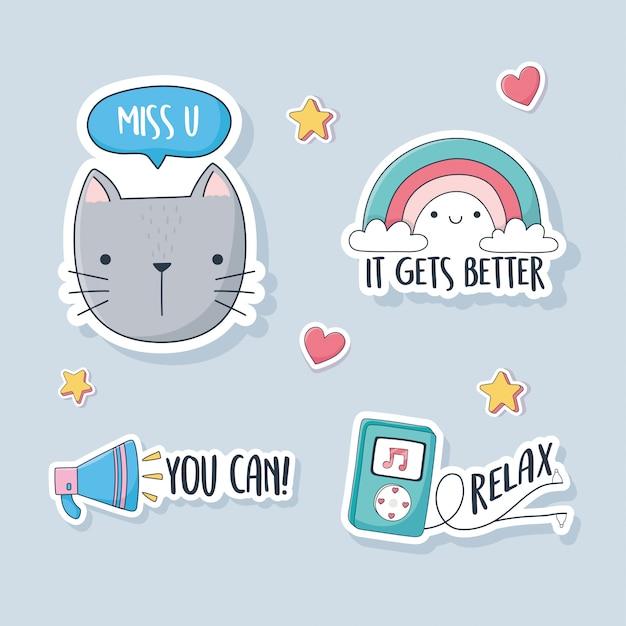 카드 스티커 또는 패치 장식 만화 귀여운 고양이 무지개 스피커 및 Mp3 음악 물건 프리미엄 벡터
