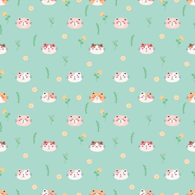 Cute cat seamless pattern background Premium Vector