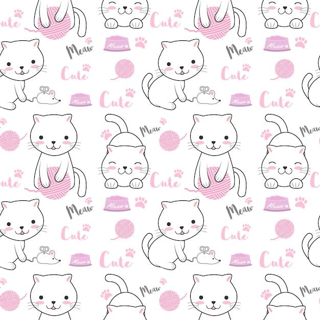 Cute cat seamless pattern illustration Premium Vector