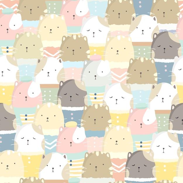 Cute cat seamless pattern pastel color Premium Vector