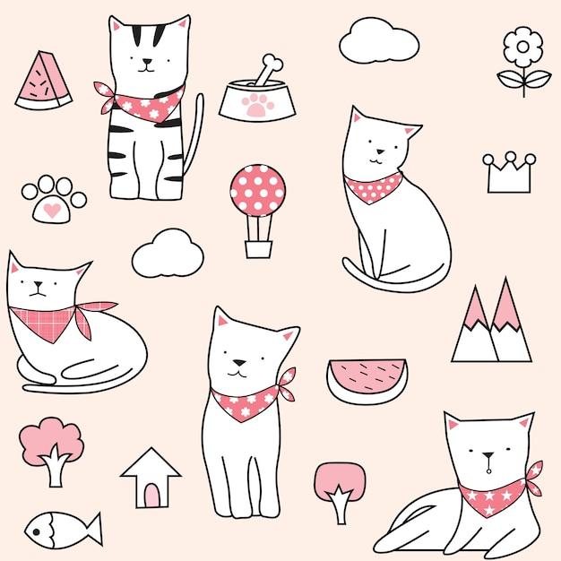Симпатичный бесшовный фон кошки Premium векторы
