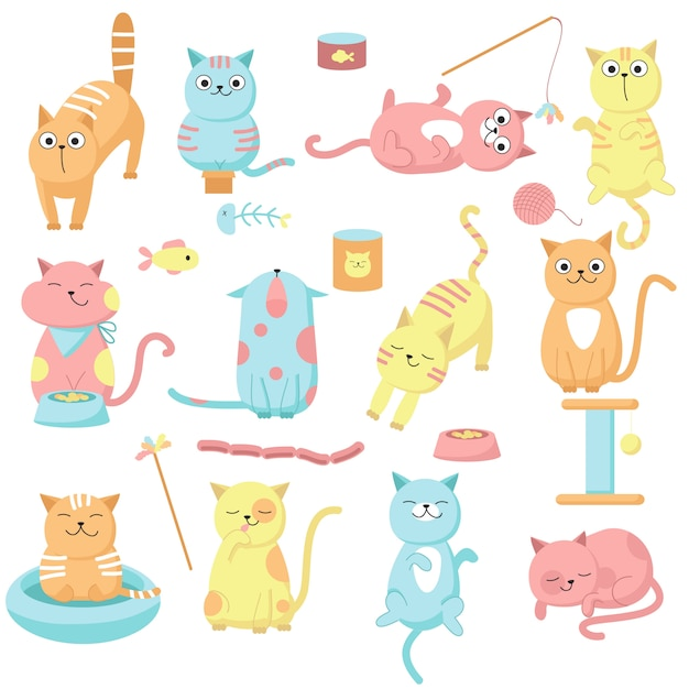 Cute cat set, vector hand drawn illustration. funny kittens licking, meowing playing and eating, pet food and accessories. Premium Vector