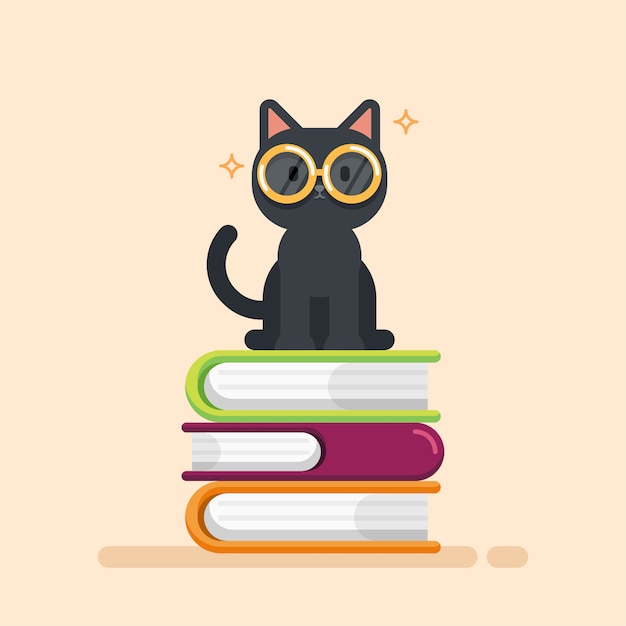 Cute cat sitting on a pile of books Premium Vector