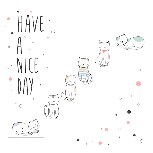 Cute cat sitting on stair cartoon doodle background Premium Vector