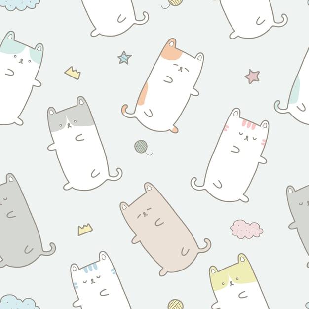 cute cat sleeping cartoon pastel seamless pattern