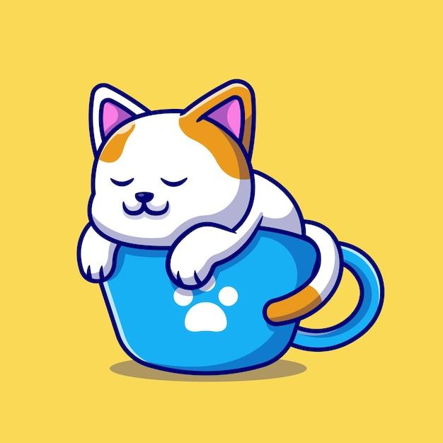 Милый кот, спать на чашке кофе иллюстрации шаржа. изолированная концепция напитка животных. плоский мультяшном стиле Бесплатные векторы