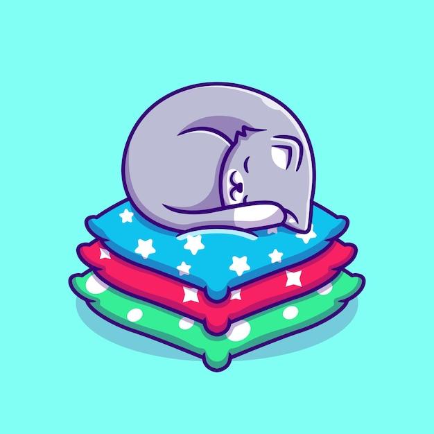 베개 만화에 잠자는 귀여운 고양이. 플랫 만화 스타일 무료 벡터