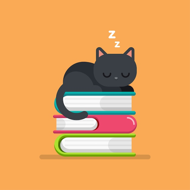 Cute cat sleeping on a pile of books Premium Vector