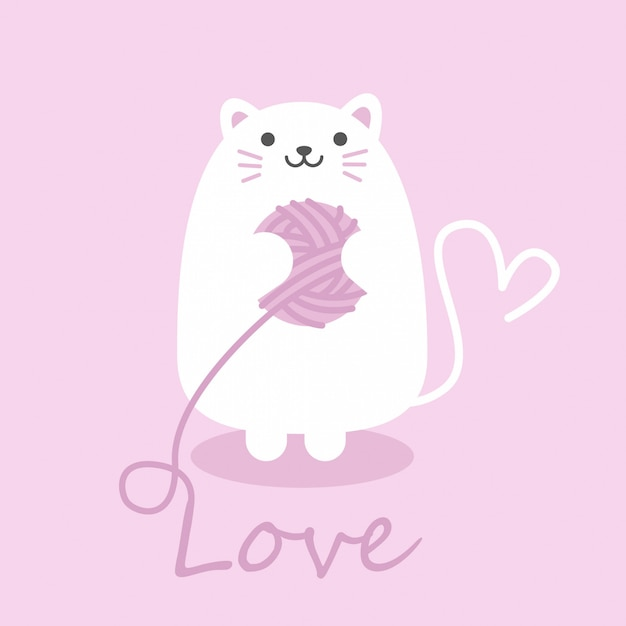 Cute cat of square gift tag, happy valentines day card Premium Vector