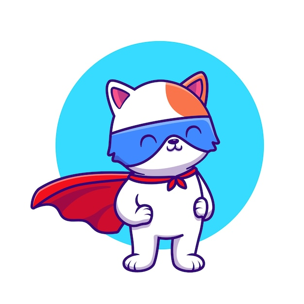 Cute cat super hero cartoon illustrazione. concetto di eroe animale isolato fumetto piatto Vettore gratuito